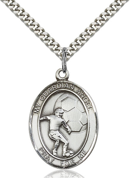 Sterling Silver Guardian Angel, Angel Jewelry Soccer Necklace Set