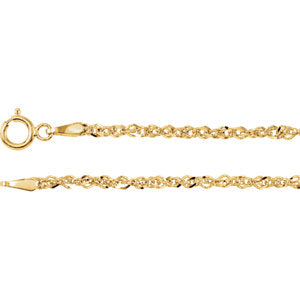 20-inch Diamond-Cut Singapore Chain with Spring Ring - 14K Yellow Gold