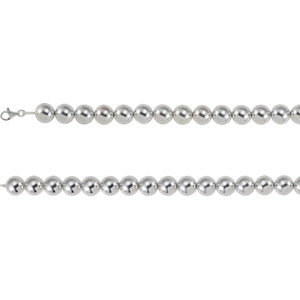 16-inch Bead Necklace with Lobster Claps - Sterling Silver
