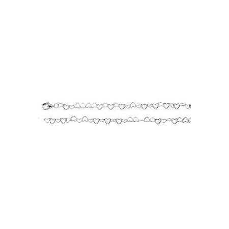 20-inch Heart Link Chain with Lobster Clasp - Sterling Silver