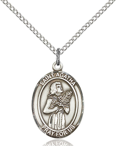 Sterling Silver Saint Agatha Necklace Set