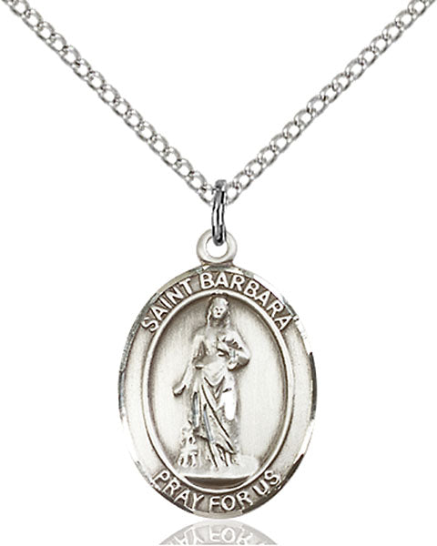 Sterling Silver Saint Barbara Necklace Set