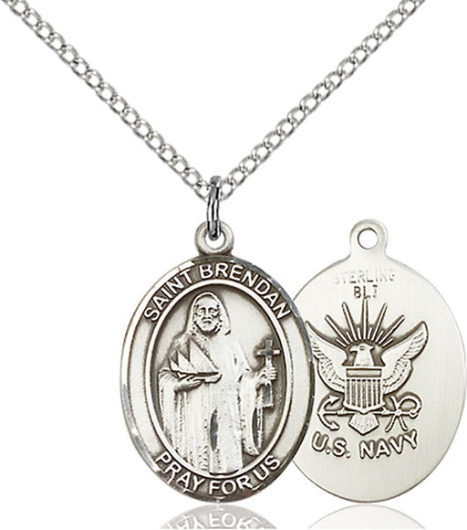 Sterling Silver Saint Brendan the Navigator Navy P