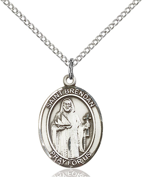 Sterling Silver Saint Brendan the Navigator Necklace Set