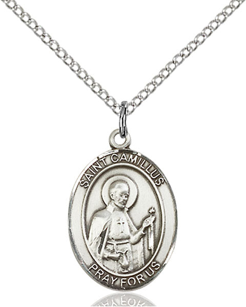 Sterling Silver Saint Camillus of Lellis Necklace Set
