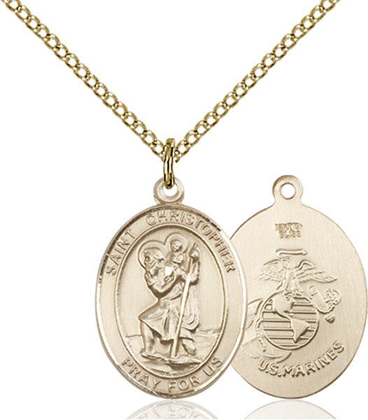 Gold-Filled Saint Christopher Marines Necklace Set
