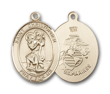 14K Gold Saint Christopher Marines Pendant