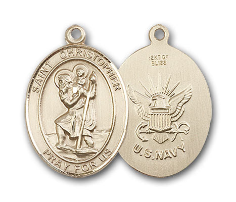 14K Gold Saint Christopher Navy Pendant