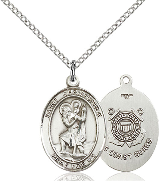 Sterling Silver Saint Christopher Coast Guard Pend