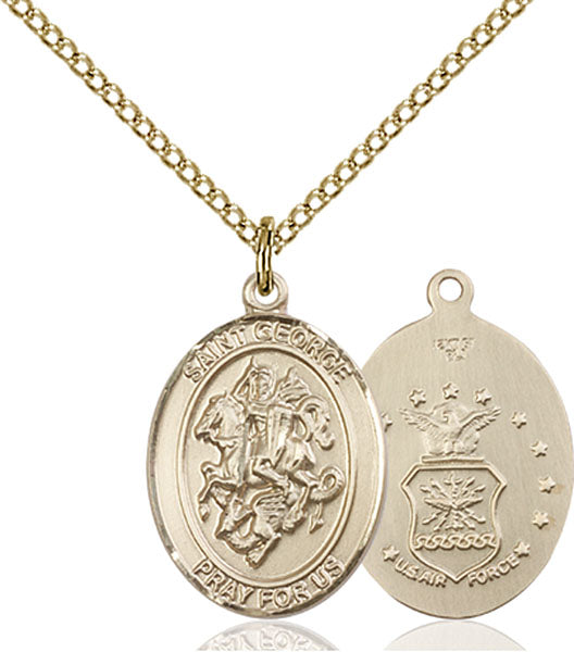 Gold-Filled Saint George Air Force Necklace Set