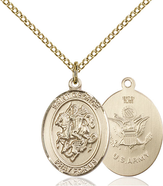 Gold-Filled Saint George Army Necklace Set