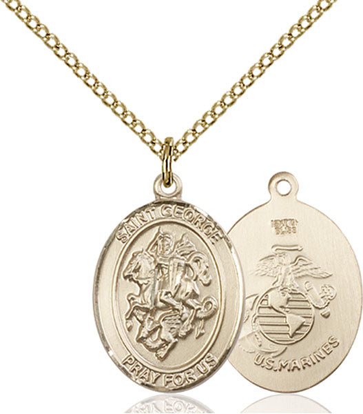 Gold-Filled Saint George Marines Necklace Set