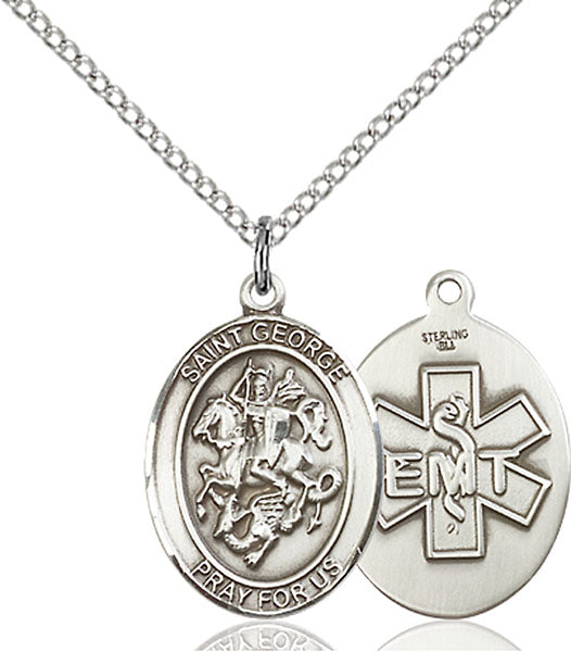 Sterling Silver Saint George Emt Necklace Set