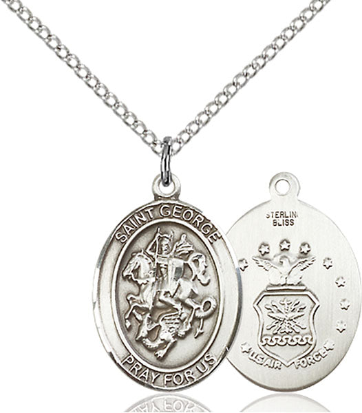 Sterling Silver Saint George Air Force Necklace Set