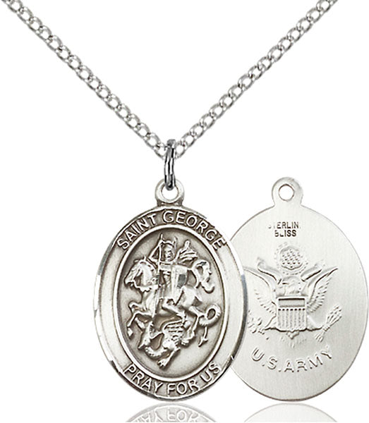 Sterling Silver Saint George Army Necklace Set