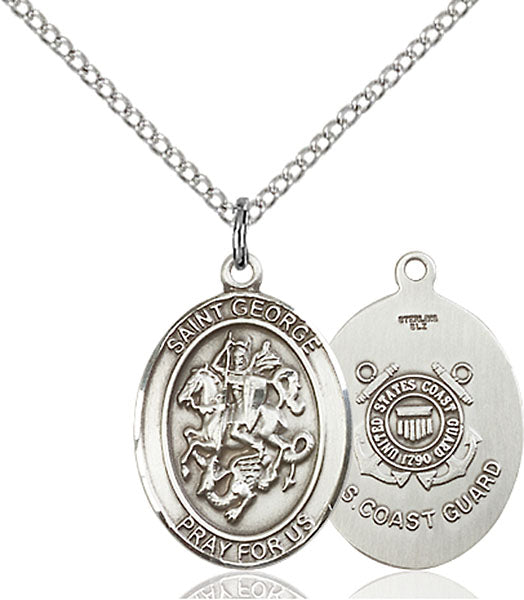 Sterling Silver Saint George Coast Guard Necklace Set