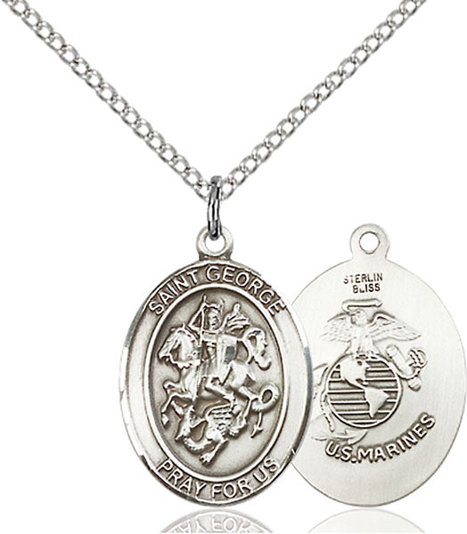 Sterling Silver Saint George Marines Necklace Set