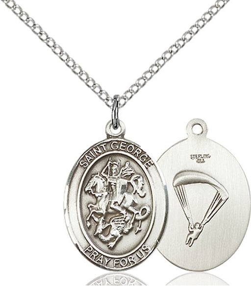 Sterling Silver Saint George Paratrooper Necklace Set