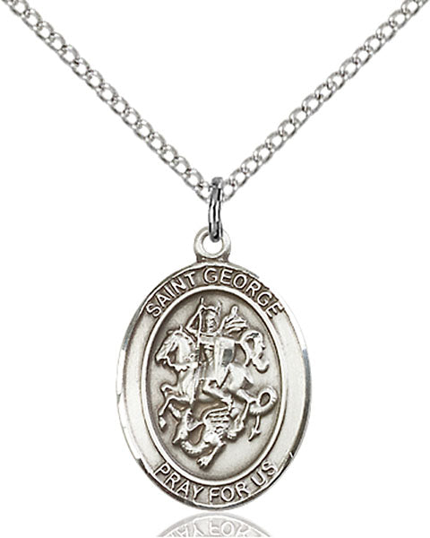 Sterling Silver Saint George Necklace Set