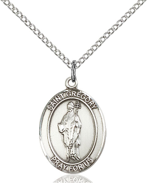 Sterling Silver Saint Gregory the Great Necklace Set