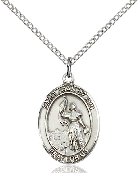 Sterling Silver Saint Joan of Arc Necklace Set