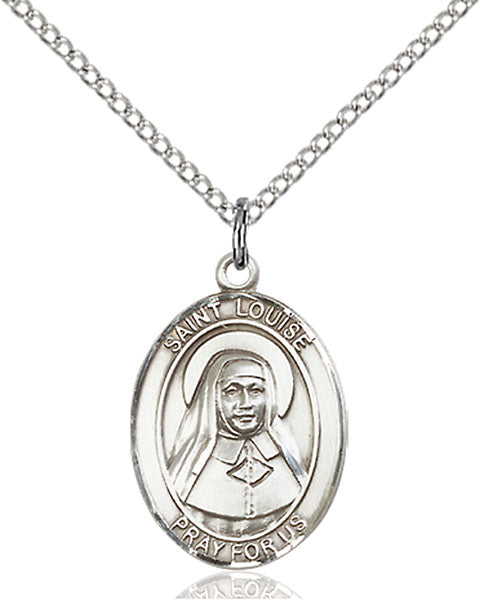 Sterling Silver Saint Louise De Marillac Necklace Set