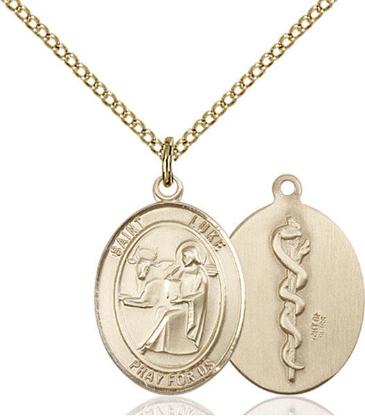 Gold-Filled Saint Luke the Apostle Doctor Necklace Set