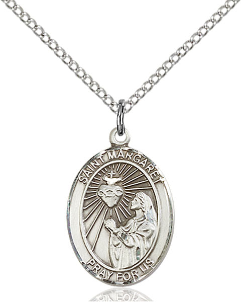 Sterling Silver Saint Margaret Mary Alacoque Necklace Set