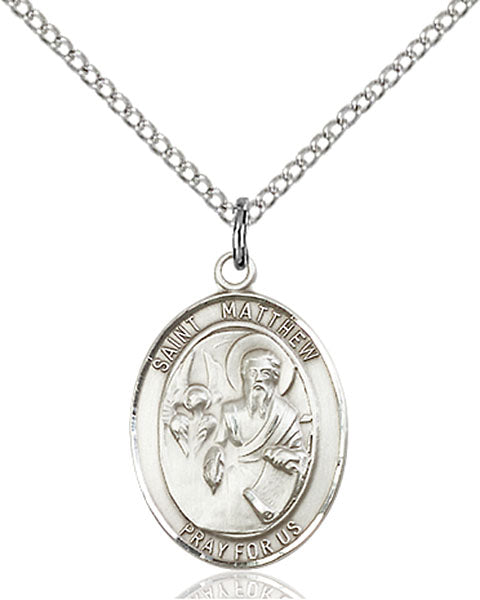 Sterling Silver Saint Matthew the Apostle Necklace Set