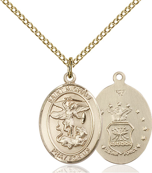 Gold-Filled Saint Michael Air Force Necklace Set