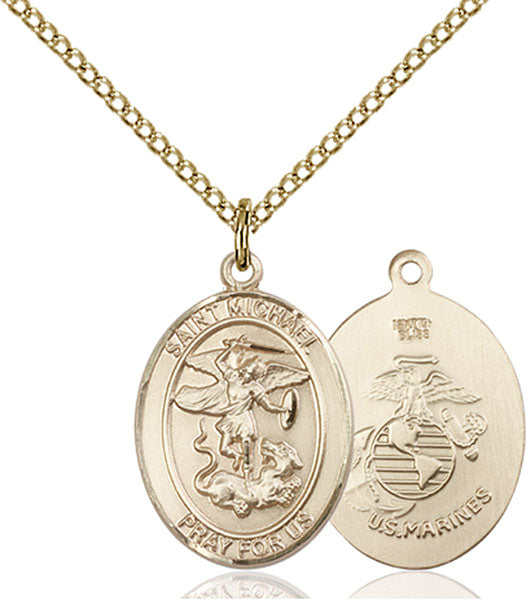 Gold-Filled Saint Michael Marines Necklace Set