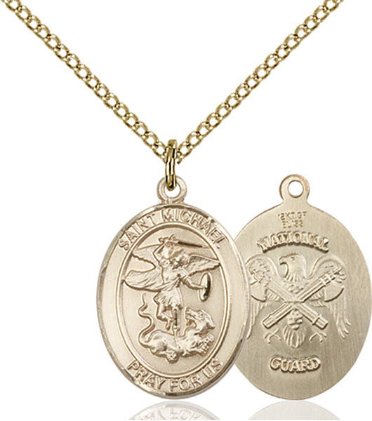 Gold-Filled Saint Michael National Guard Necklace Set