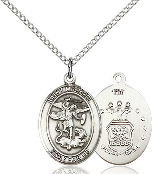 Sterling Silver Saint Michael Air Force Necklace Set
