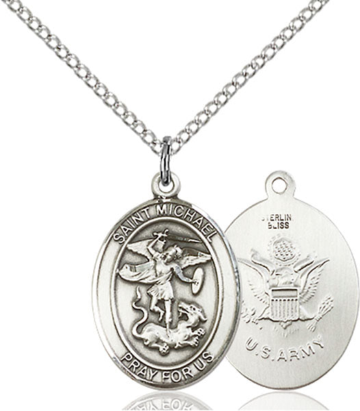 Sterling Silver Saint Michael Army Necklace Set
