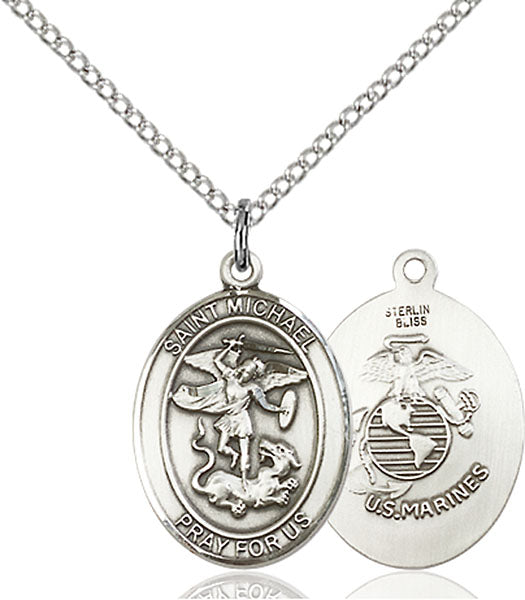 Sterling Silver Saint Michael Marines Necklace Set