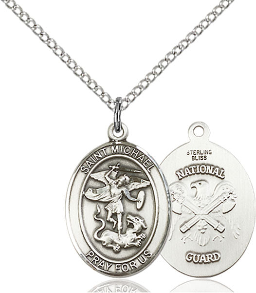 Sterling Silver Saint Michael National Guard Necklace Set