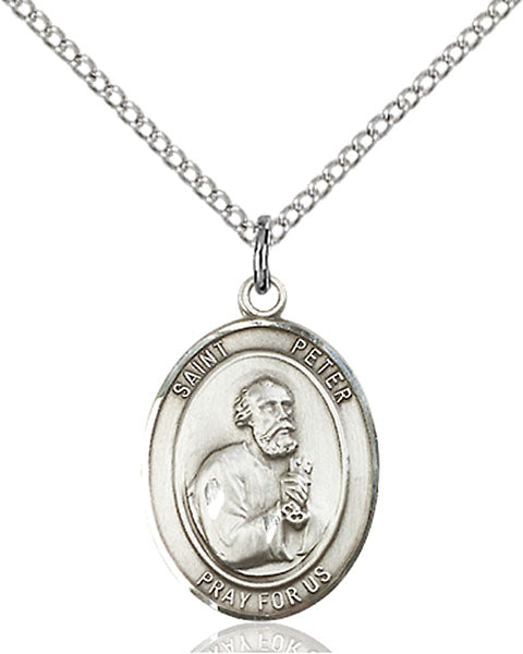 Sterling Silver Saint Peter the Apostle Necklace Set
