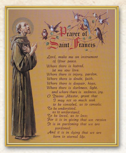 Prayer Saint Francis 8X10 Plaque