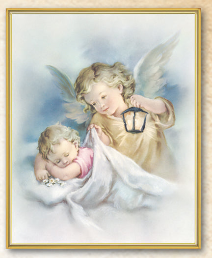 8X10 Guardian Angel with Lamp Plaque