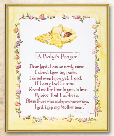 Baby Prayer 8X10 Plaque