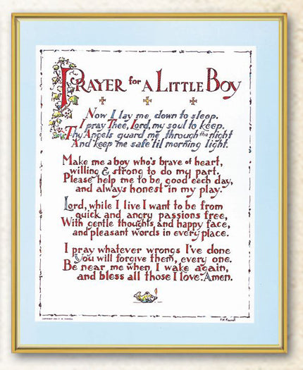 Prayer For Little Boy 8X10 Plaque