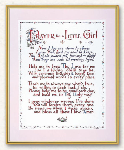 Prayer For Little Girl 8X10 Plaque