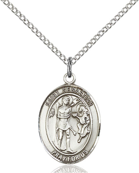 Sterling Silver Saint Sebastian Necklace Set