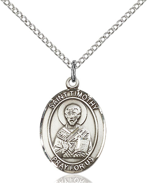 Sterling Silver Saint Timothy Necklace Set