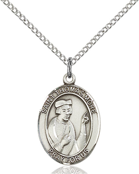 Sterling Silver Saint Thomas More Necklace Set