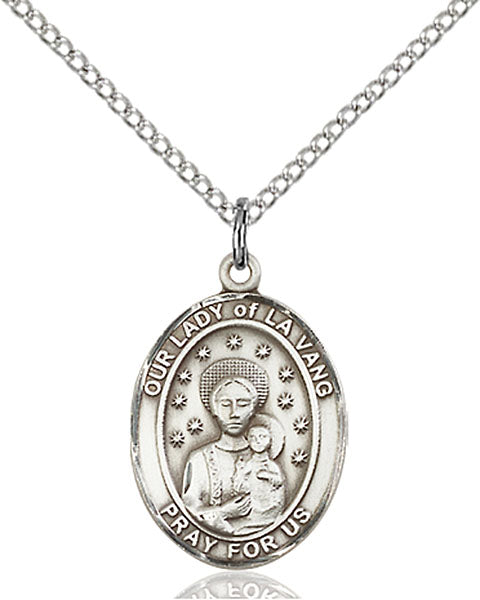 Sterling Silver Our Lady of La Vang Necklace Set