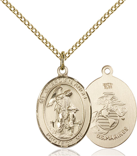 Gold-Filled Guardian Angel, Angel Jewelry Marines Necklace Set