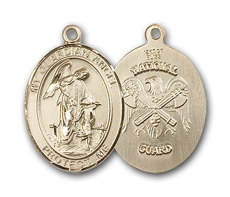 14K Gold Guardian Angel, Angel Jewelry National Guard Pendant