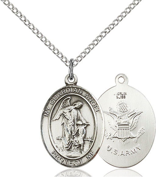 Sterling Silver Guardian Angel, Angel Jewelry Army Necklace Set