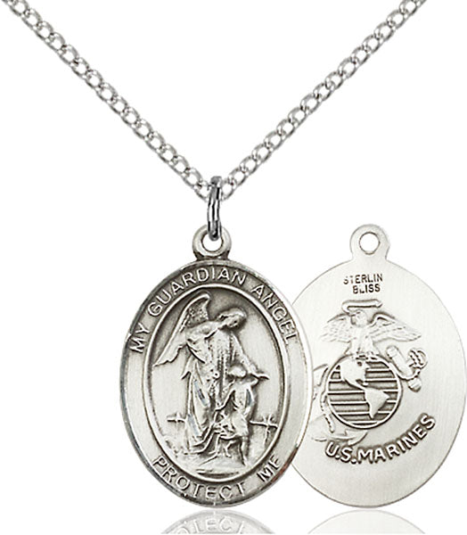 Sterling Silver Guardian Angel, Angel Jewelry Marines Necklace Set
